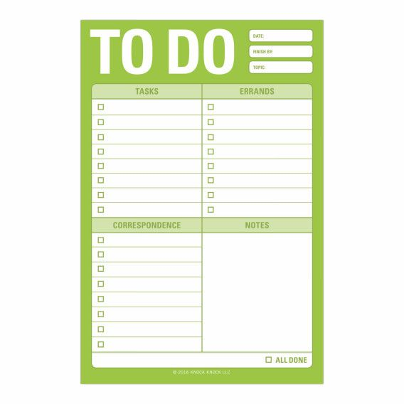 Knock Knock To Do Great Big Sticky Notes are the sticky note version of the Knock Knock To Do Pad. Check off your to-do list with these fun office supplies.