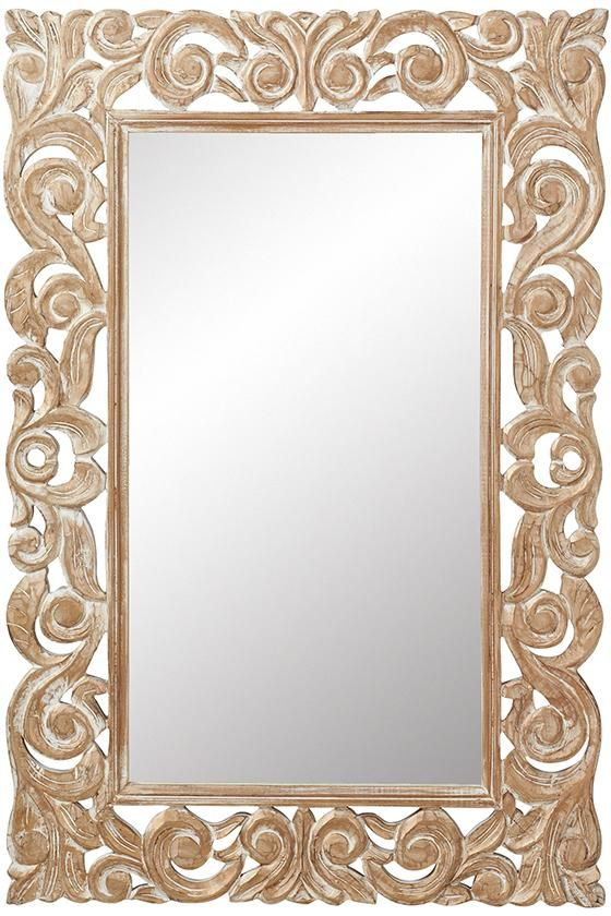 padma mango wood carved mirror - Home Decor Mirrors