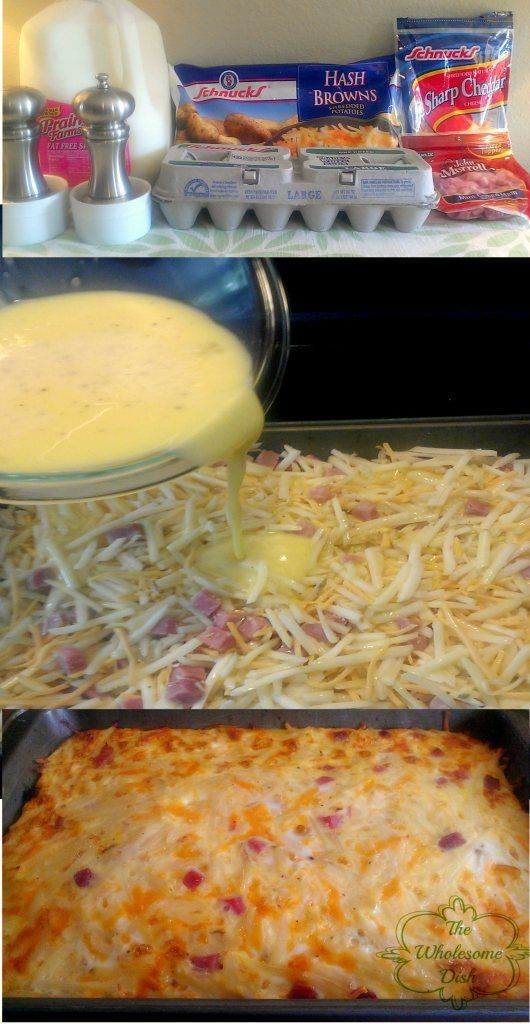 Easy Breakfast Casserole - With hash browns, eggs, ham, & cheese.