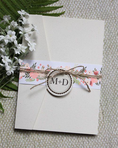 Květinové svatební oznámení - sada s obálkou