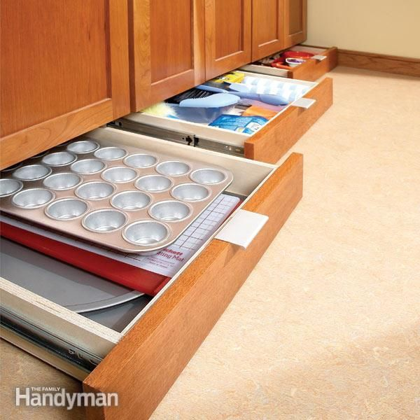 Gain extra storage space in the kitchen by installing toe-kick drawers under your base cabinets. Just assemble the drawer units in your shop, then slip them