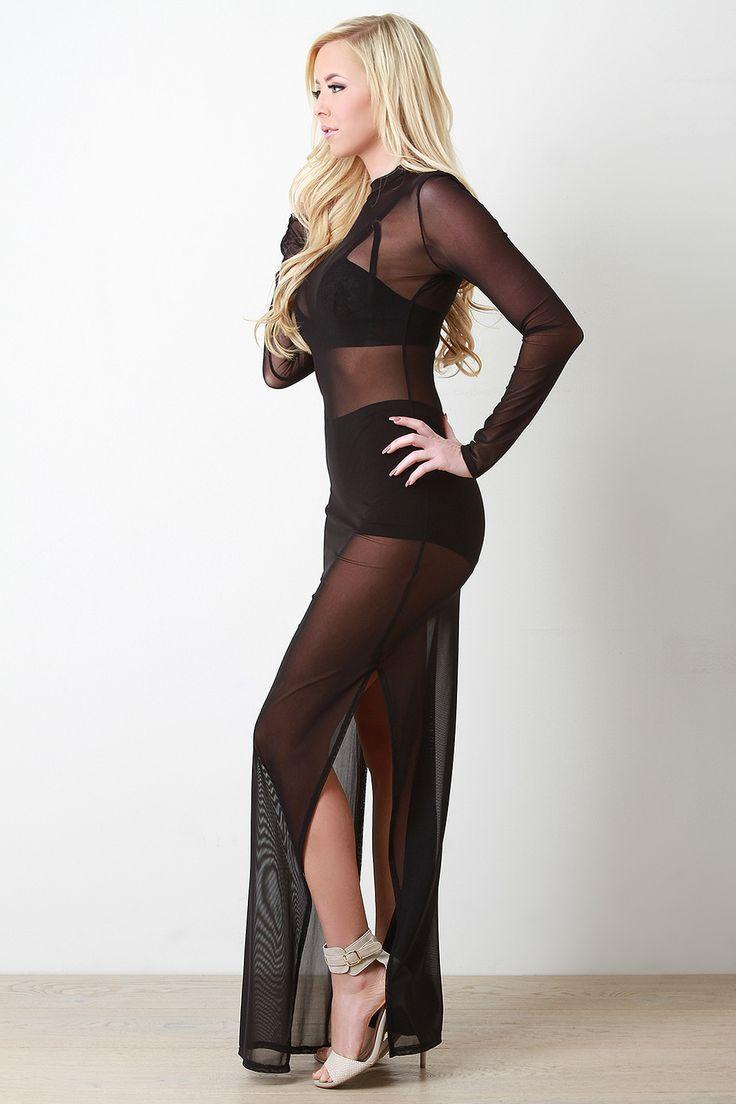 Semi-Sheer Mesh Double Slit Dress