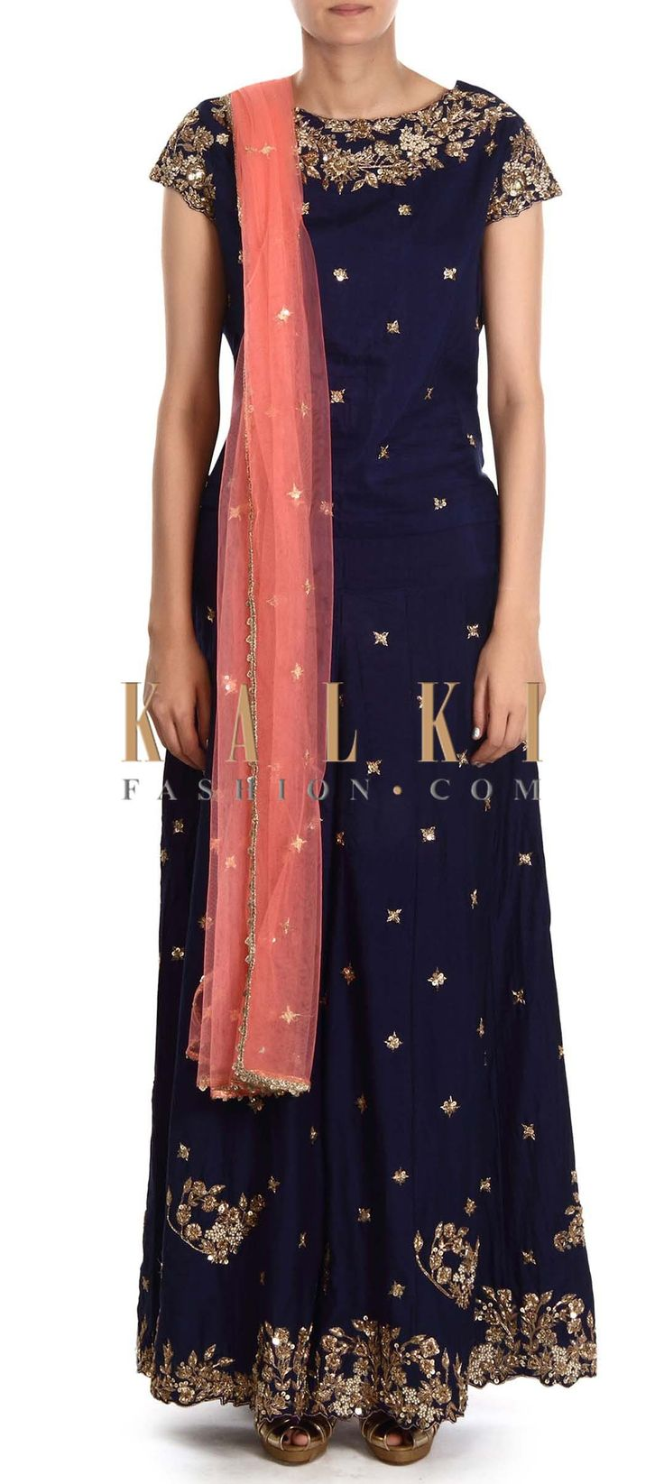 Buy this Navy blue palazzo suit adorn in zardosi embroidery only on Kalki