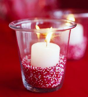 votive nestled in red and white sprinkles