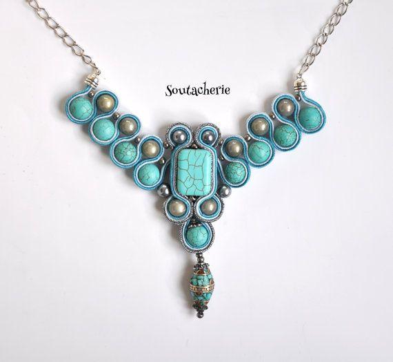 Statement soutache turquoise necklace by Soutacherie on Etsy, $55.00