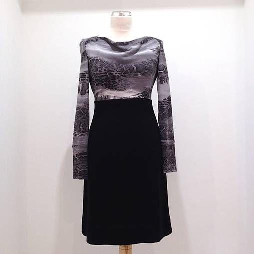 LuxuryCouture / Vlnené šaty šedo/čierne