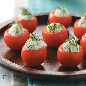 Cucumber-Stuffed Cherry Tomatoes - a great small bite that uses summer produce to serve at a garden party.