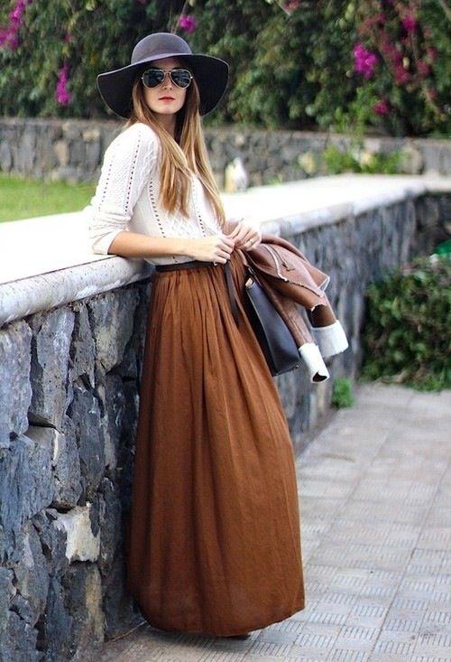Fashion long skirt brown  Style