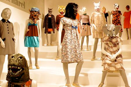 """Cacharel - Eley Kishimoto """"In lieu of a runway show, the crew at Cacharel decided to do a simple storefront presentation -- until they realized it was a bit too simple. Their solution? Send out an APB in search of creepy, colorful, character-filled masks. Fashion accomplished."""""""