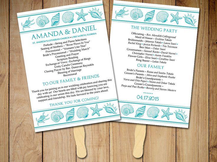 "Beach Wedding Program Fan Template - ""Coastal Dreams"" Seashell Wedding Program - Ocean Order of Ceremony Instant Download DIY Wedding by PaintTheDayDesigns on Etsy"