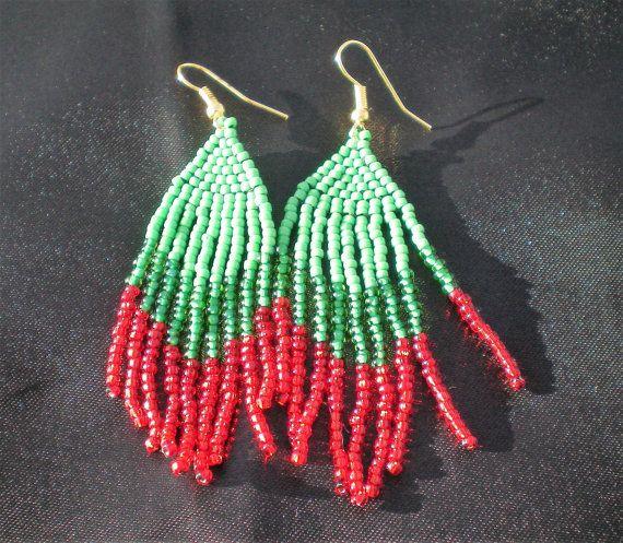 Boho tassel earrings, Native American Indian style, Red and green beaded fringe earrings, ethnic earrings, gift for her, festival earrings