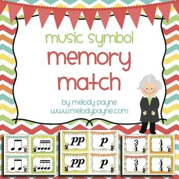 Music Symbol Memory Match {with Bach, Mozart, & Beethoven}. Review 42 musical symbols (dynamics, time signatures, rhythms, etc.) with this fun memory match game. Music center idea!