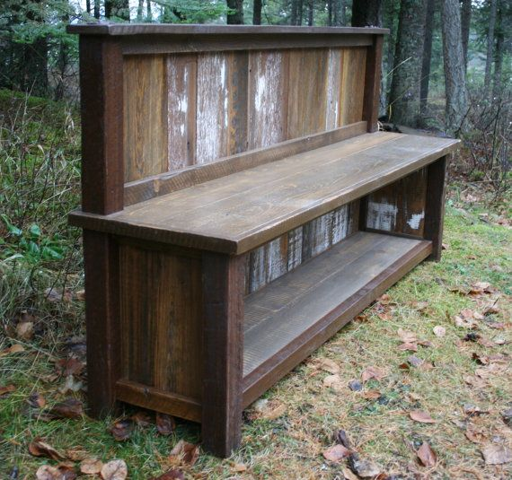 Reclaimed Rustic Backed Entry Bench By Echopeakdesign On Etsy Big Much Farm