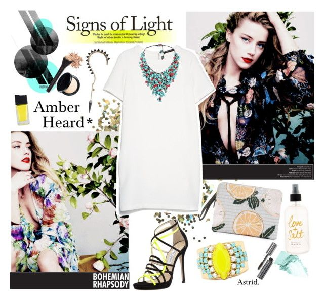 """""""Ambre Heard*"""" by askriiid ❤ liked on Polyvore featuring Topshop, NARS Cosmetics, Bobbi Brown Cosmetics, Lizzie Fortunato, MANGO, Jimmy Choo, Sandy Hyun, AeraVida, HOTmakeup and women's clothing"""