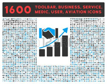 acquisition connection: Acquisition Growth vector icon and 1600 other business, service tools, medical care, software toolbar, web interface pictograms. Style is bicolor flat symbols, blue and gray colors, rounded angles, white background.