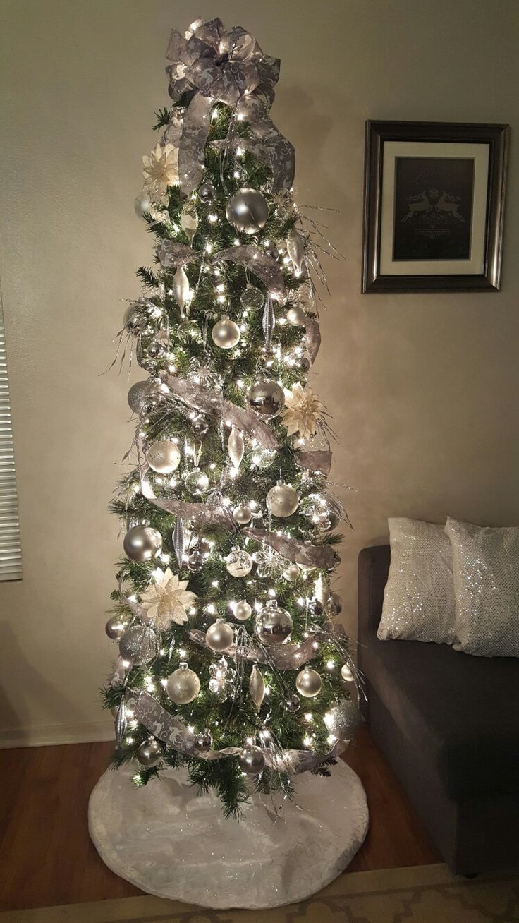 Silver Slim Christmas Tree Part - 15: White And Silver Slim Christmas Tree