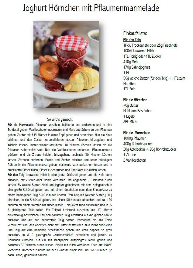 Joghurt Hörnchen mit Pflaumen Vanille Marmelade Rezept