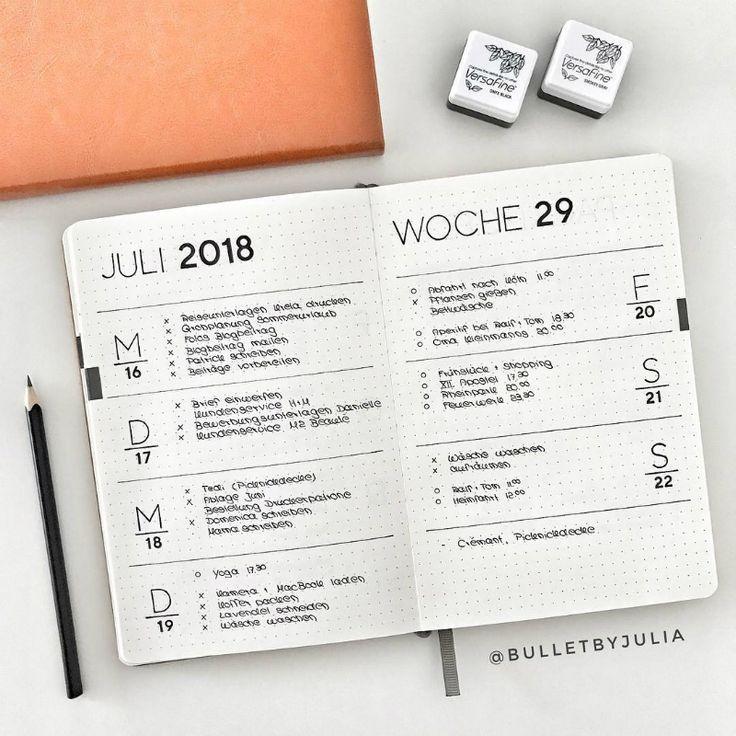 Simple weekly layout for bullet journal #bulletjou…