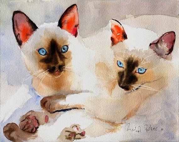 Siamese Cat art  PRINT  Watercolor Painting door rachelsstudio