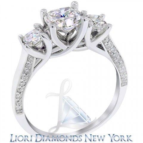 2.48 Carat F-VS1 Three Stone Cushion Cut Diamond Engagement Ring 18K White Gold - Side-stone Engagement Rings - Engagement - Lioridiamonds.com
