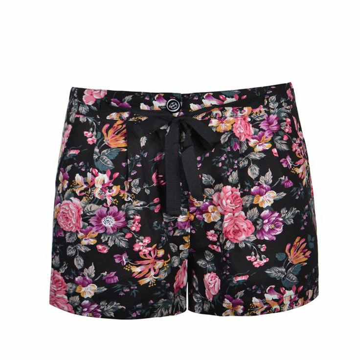 Short in tropical floral print with fitted waistband ribbon tie.