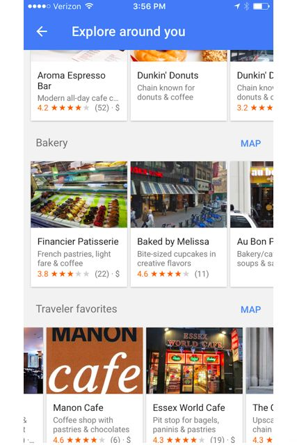 """Find the best nearby coffee shop more quickly: Instead of searching for coffee shops in the search tab, put your cursor on the tab and select """"explore nearby"""" from the drop-down menu. This will lead you to curated lists of local favorites, lunch spots, coffee shops, and more, with ratings and reviews in one easy-to-access place. #refinery29 http://www.refinery29.com/best-google-maps-tricks#slide-7"""