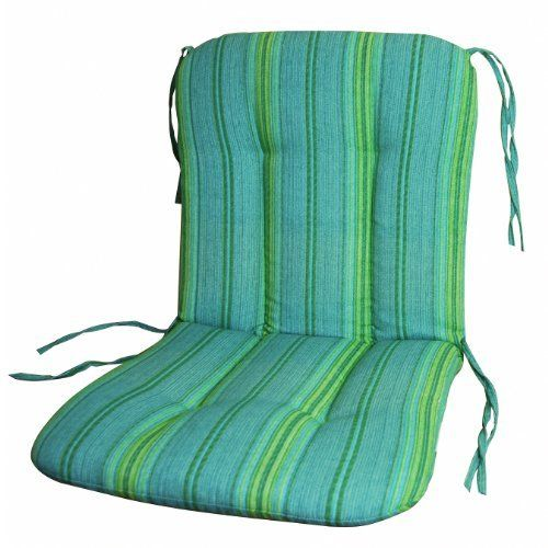 """Wrought Iron Chair Cushion-Grand Stripe Sea Blue . $19.95. Smooth edge style. Color coordinated fabric ties secures cushion to chair. Made with spun polyester fabric, filled with 100% QUICK DRY FILL. Modern print for contemporary style. Sized to fit most wrought iron furniture, 20W x 37L x 2.5H, Break- 20"""" from the top. Smooth edge style cushion for wrought iron furniture. 20""""W X 37""""L X 2.5""""H, Break 20"""" from the top.. Save 60% Off!"""