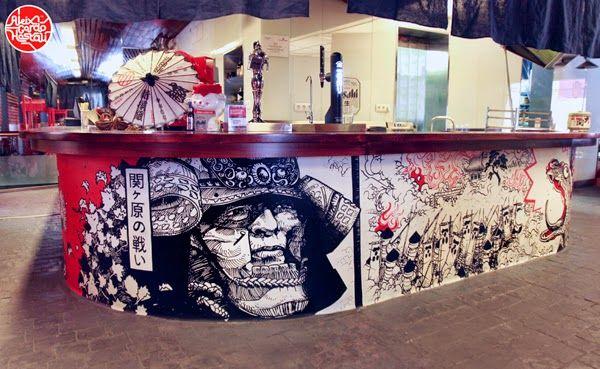 Aleix Gordo Hostau - Ilustración, street art, cómic, pintura, cine...: Murales en Hattori Hanzo - Restaurante Japones en Madrid - Aleix Gordo Hostau