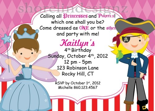 18 best PrincessPirate Invitations images – Princess and Pirates Party Invitations