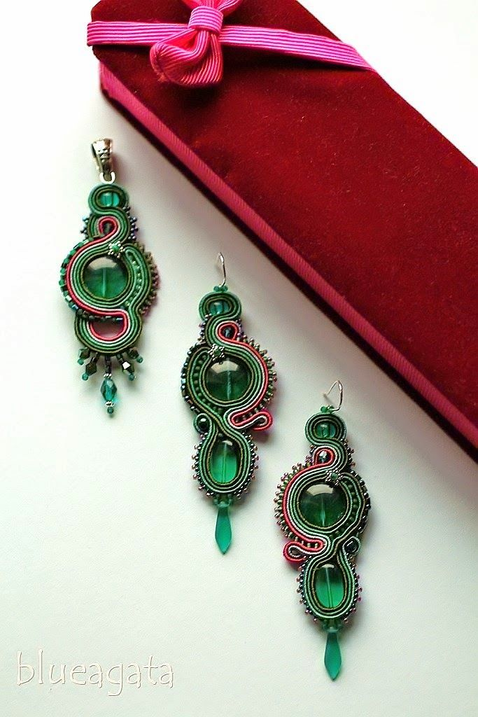 blueagata: Emerald soutache jewelry set