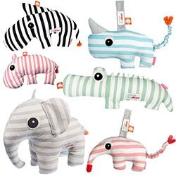 Done by Deer soft toys for babies/toddlers are adorable stripey animals - from elephants and anteaters to hippos, zebras, crocs and more. Elephant comes with a book.