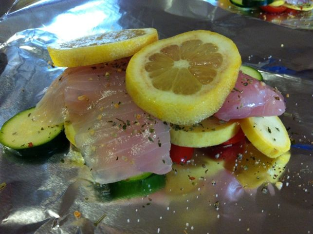 Dinner tonight recipe foil packet oven roasted tilapia for Fish foil packets oven