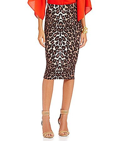 Gianni Bini Bethany LeopardPrint Ponte Pencil Skirt #Dillards