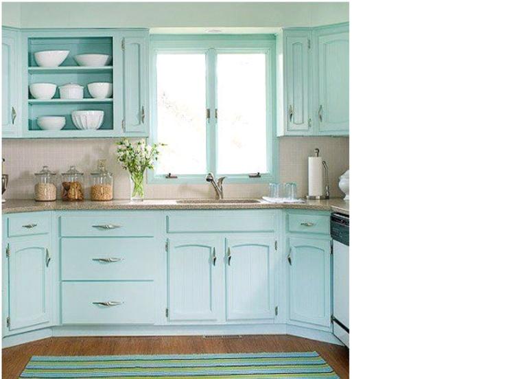 "35 Fresh White Kitchen Cabinets Ideas To Brighten Your: Beautiful ""Tiffany Blue"" Shabby Kitchen"