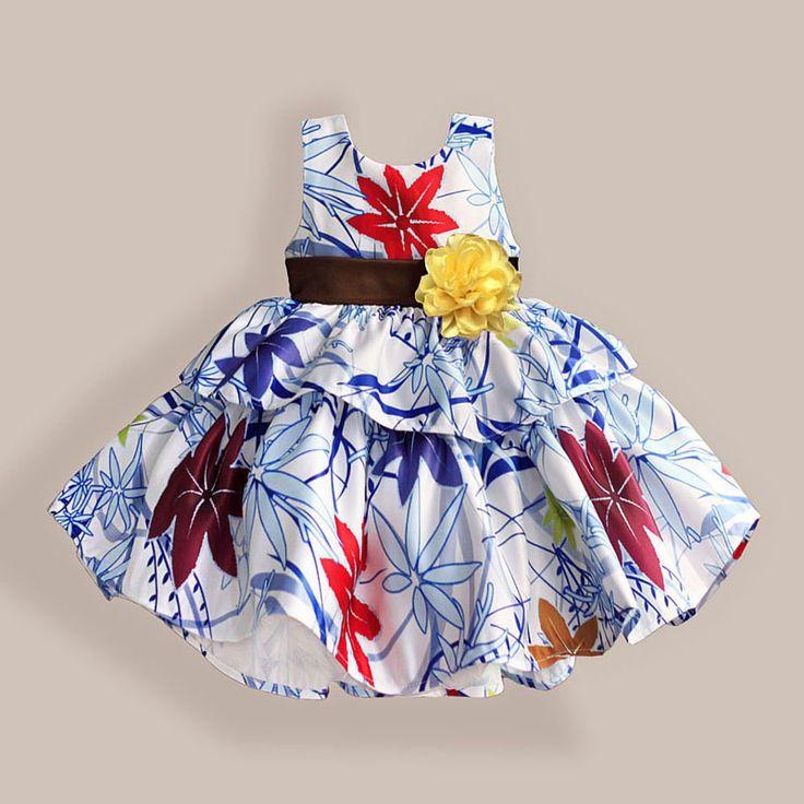 Двойной слой платье ребенка синий печатные девушки одевает желтый с бантом хлопок свадебное платье vetement филь 1   6 ткупить в магазине children paradiseнаAliExpress