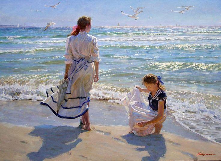 Girls on the beach by Alexander Averin - #pintura #art #artwit #twitart #fineart #averin #painting