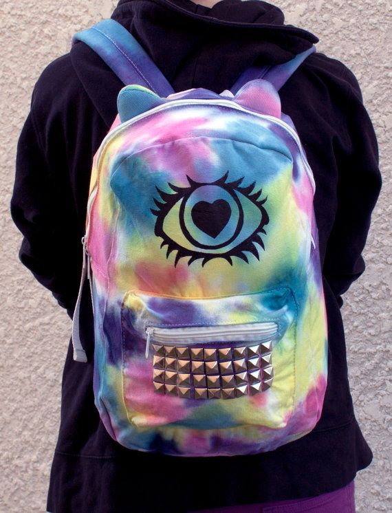 Hey, I found this really awesome Etsy listing at http://www.etsy.com/listing/154304776/cyclops-kitty-backpack-tie-dye-hand