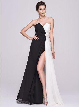 A-Line/Princess Scalloped Neck Floor-Length Chiffon Evening Dress With Ruffle Split Front http://bit.ly/1e4q9ID