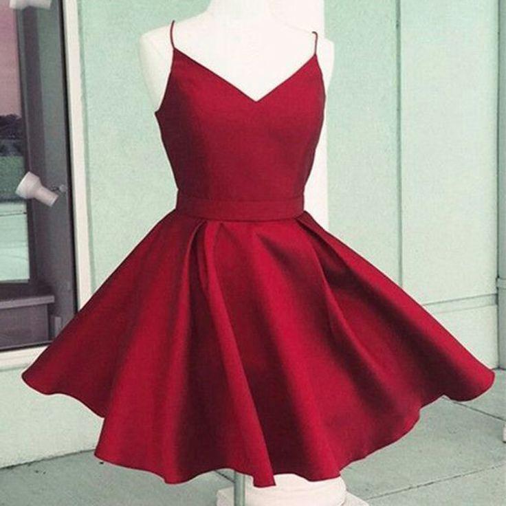 Simple homecoming dresses, spaghetti strap short homecoming dresses,red homecoming dresses,v-neck short homecoming dresses,BW0257