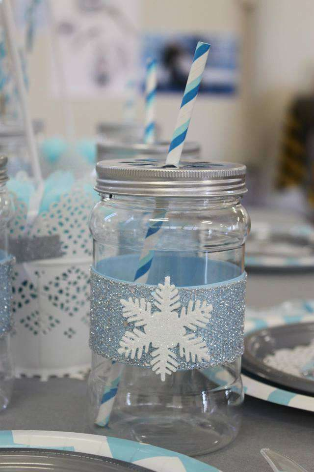 Glittery mason jar drinks at a Frozen birthday party! See more party planning ideas at CatchMyParty.com!