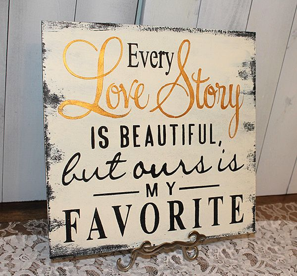 """Romantic Bedroom Projects • Try these decorating ideas to up the romance, like this """"Love Story"""" sign by 'Gingerbread Romantic'!"""