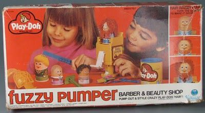Santa came through for me in 1983ish with this favorite toy...Play-Doh Fuzzy Pumper Barber & Beauty Shop.