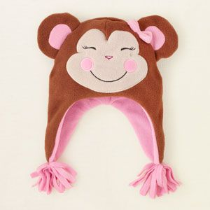 baby girl - accessories - monkey microfleece hat | Children's Clothing | Kids Clothes | The Children's Place