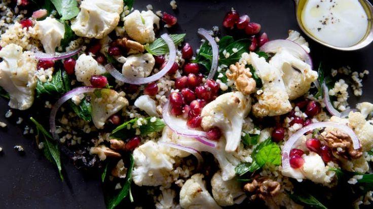 Warm cauliflower and pomegranate salad