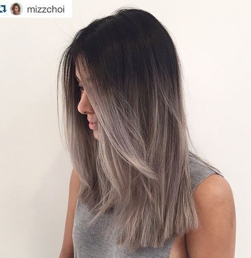 #17: Black, Ash Brown and Silver Ombre You can have the best of both worlds by using not only ash blonde or ash brown, but also silver for your ombre. This hair