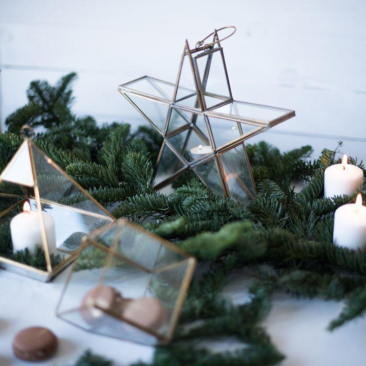 Porta velas estrella dorada y terrarios de la tienda de Renata.