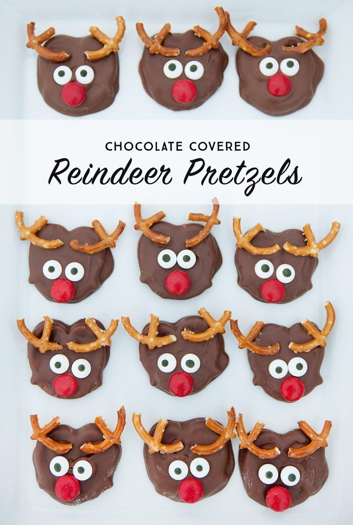 A cute and delicious treat to make with the kids this holiday season, these chocolate covered reindeer pretzels can be put together in no time at all! - from simpleasthatblog.com