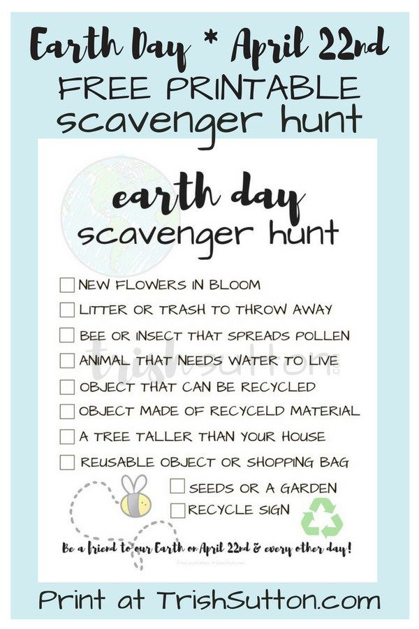 Earth Day Scavenger Hunt Printable Earth Day