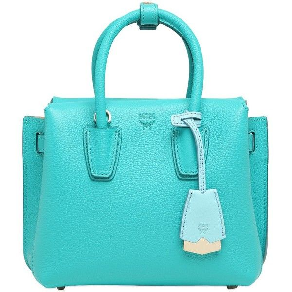 Mcm Women Mini Milla Leather Tote Bag ($820) ❤ liked on Polyvore featuring bags, handbags, tote bags, turquoise, blue leather tote bag, mini crossbody, leather crossbody purses, leather crossbody tote and cross-body handbag