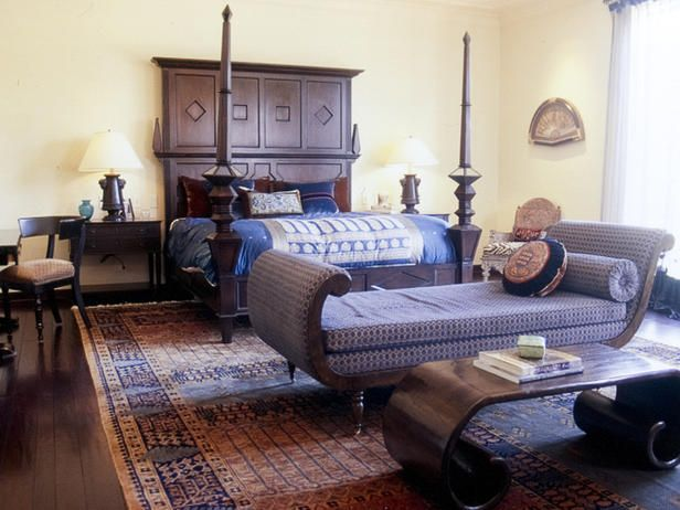unique furnishings punctuate formal master bedroom. 12 Exotic Moroccan-Inspired Rooms